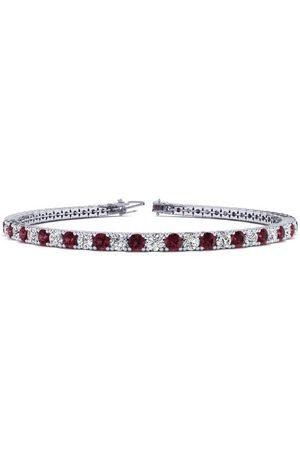 SuperJeweler 7.5 Inch 4 1/2 Carat Garnet & Diamond Tennis Bracelet in 14K (10.1 g)