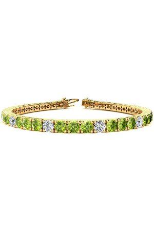 SuperJeweler 9 Inch 11 3/4 Carat Peridot & Diamond Alternating Tennis Bracelet in 14K (15.4 g)