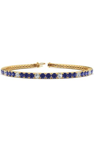 SuperJeweler 7.5 Inch 5 1/4 Carat Tanzanite & Diamond Alternating Tennis Bracelet in 14K (10.1 g)