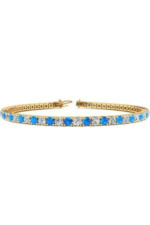 SuperJeweler 6 Inch 4 Carat Blue Topaz & Diamond Tennis Bracelet in 14K (8.1 g)