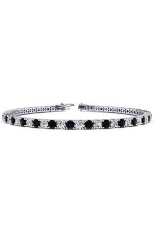 SuperJeweler 7 Inch 4 Carat Black & White Diamond Tennis Bracelet in 14K (9.4 g)