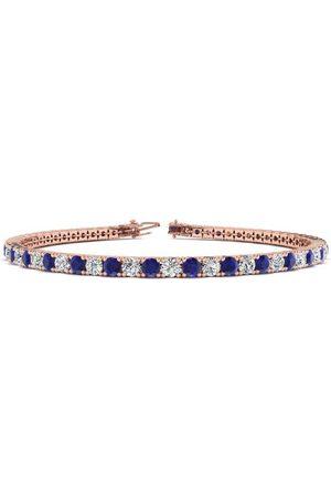 SuperJeweler 8 Inch 5 Carat Sapphire & Diamond Tennis Bracelet in 14K (10.7 g)