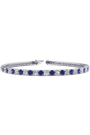 SuperJeweler 9 Inch 6 Carat Tanzanite & Diamond Tennis Bracelet in 14K (12.1 g)