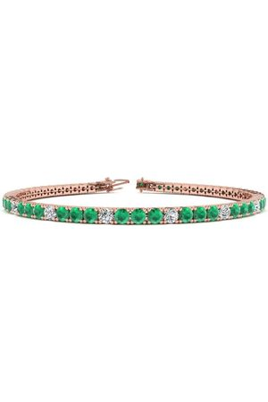 SuperJeweler 6 Inch 4 Carat Emerald Cut & Diamond Alternating Tennis Bracelet in 14K (8.1 g)