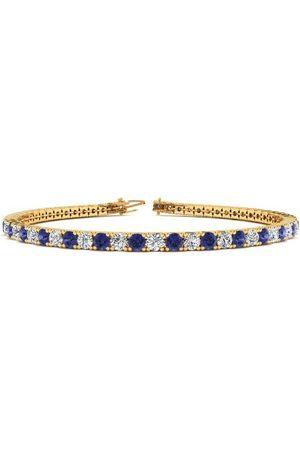 SuperJeweler 6.5 Inch 4 1/4 Carat Tanzanite & Diamond Tennis Bracelet in 14K (8.7 g)