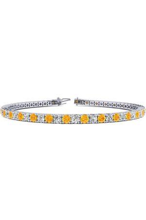 SuperJeweler 9 Inch 5 Carat Citrine & Diamond Tennis Bracelet in 14K (12.1 g)
