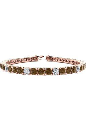 SuperJeweler 8 Inch 10 1/2 Carat Chocolate Bar Brown Champagne & White Diamond Alternating Tennis Bracelet in 14K (13.7 g)