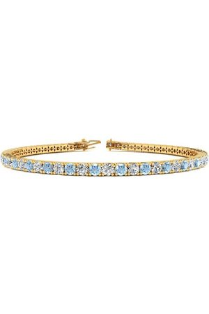 SuperJeweler 9 Inch 5 Carat Aquamarine & Diamond Tennis Bracelet in 14K (12.1 g)