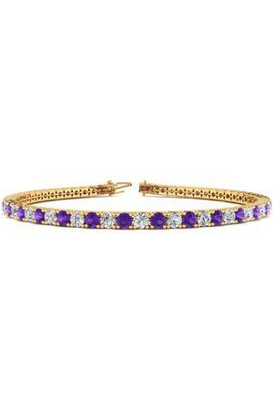 SuperJeweler Women Bracelets - 7.5 Inch 4 1/4 Carat Amethyst & Diamond Tennis Bracelet in 14K (10.1 g)