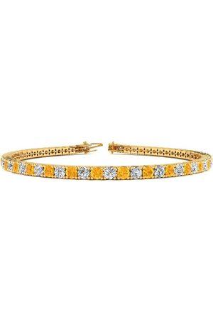 SuperJeweler 6.5 Inch 3 1/2 Carat Citrine & Diamond Tennis Bracelet in 14K (8.7 g)