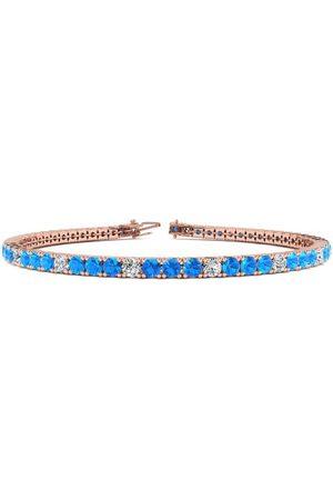 SuperJeweler 6.5 Inch 4 1/2 Carat Blue Topaz & Diamond Alternating Tennis Bracelet in 14K (8.7 g)