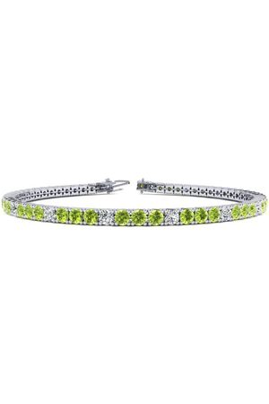 SuperJeweler 6 Inch 3 1/2 Carat Peridot & Diamond Alternating Tennis Bracelet in 14K (8.1 g)