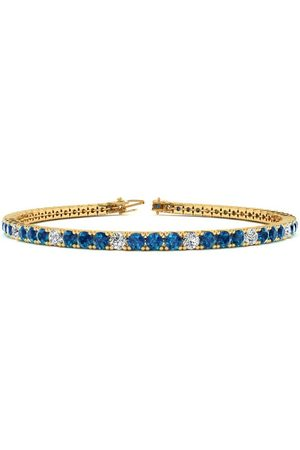 SuperJeweler 7 Inch 4 Carat Blue & White Diamond Alternating Tennis Bracelet in 14K (9.4 g)