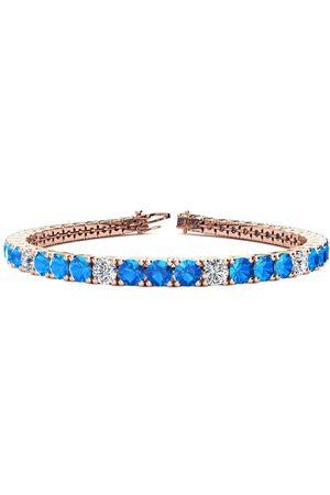SuperJeweler 7 Inch 11 Carat Blue Topaz & Diamond Alternating Tennis Bracelet in 14K (12 g)