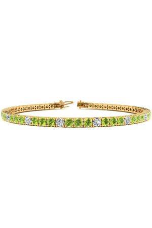 SuperJeweler 8 Inch 4 1/2 Carat Peridot & Diamond Alternating Tennis Bracelet in 14K (10.7 g)