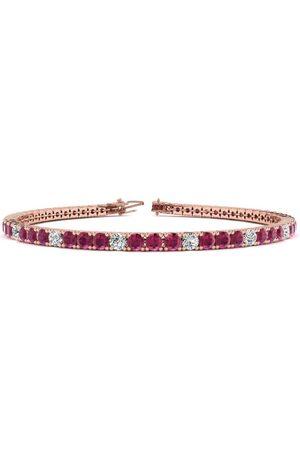 SuperJeweler 9 Inch 6 1/3 Carat Ruby & Diamond Alternating Tennis Bracelet in 14K (12.1 g)