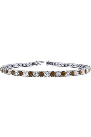 SuperJeweler 9 Inch 5 Carat Chocolate Bar Brown Champagne & White Diamond Tennis Bracelet in 14K (12.1 g)