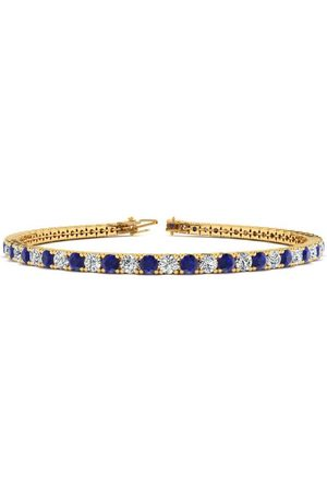 SuperJeweler 9 Inch 6 Carat Sapphire & Diamond Tennis Bracelet in 14K (12.1 g)