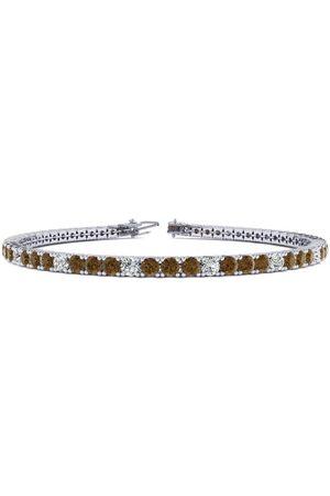 SuperJeweler 6 Inch 3 1/2 Carat Chocolate Bar Brown Champagne & White Diamond Alternating Tennis Bracelet in 14K (8.1 g)