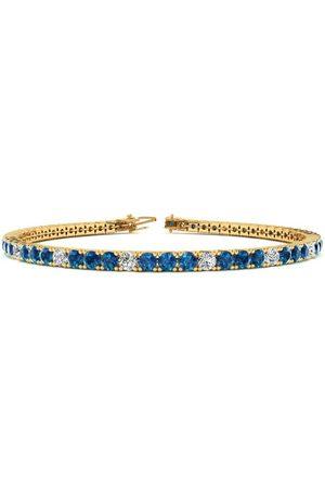 SuperJeweler 9 Inch 5 Carat Blue & White Diamond Alternating Tennis Bracelet in 14K (12.1 g)
