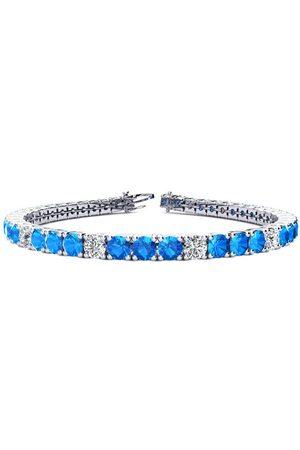 SuperJeweler Women Bracelets - 6 Inch 9 1/3 Carat Blue Topaz & Diamond Alternating Tennis Bracelet in 14K (10.3 g)