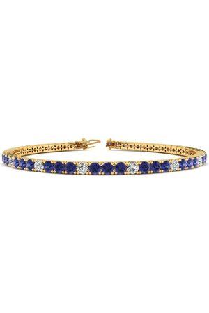 SuperJeweler 6 Inch 4 1/3 Carat Tanzanite & Diamond Alternating Tennis Bracelet in 14K (8.1 g)