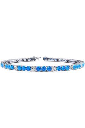 SuperJeweler 7 Inch 5 Carat Blue Topaz & Diamond Alternating Tennis Bracelet in 14K (9.4 g)