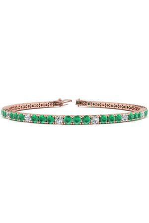 SuperJeweler 8 Inch 5 Carat Emerald Cut & Diamond Alternating Tennis Bracelet in 14K (10.7 g)