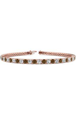 SuperJeweler 8 Inch 4 1/2 Carat Chocolate Bar Brown Champagne & White Diamond Tennis Bracelet in 14K (10.7 g)