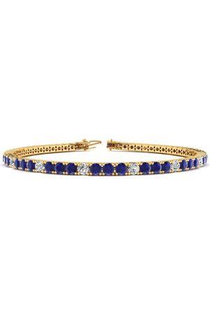 SuperJeweler 6.5 Inch 4 1/2 Carat Sapphire & Diamond Alternating Tennis Bracelet in 14K (8.7 g)