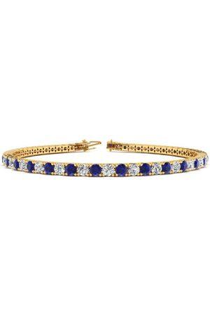 SuperJeweler 8.5 Inch 5 1/2 Carat Sapphire & Diamond Tennis Bracelet in 14K (11.4 g)