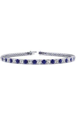 SuperJeweler 6 Inch 4 Carat Sapphire & Diamond Tennis Bracelet in 14K (8.1 g)