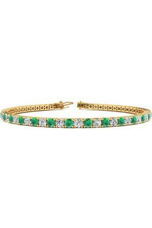 SuperJeweler 8 Inch 4 3/4 Carat Emerald Cut & Diamond Tennis Bracelet in 14K (10.7 g)