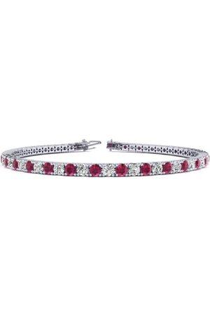 SuperJeweler 6 Inch 4 Carat Ruby & Diamond Tennis Bracelet in 14K (8.1 g)