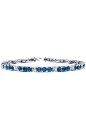 SuperJeweler 6 Inch 3 1/2 Carat Blue & White Diamond Alternating Tennis Bracelet in 14K (8.1 g)