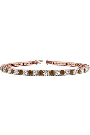 SuperJeweler Women Bracelets - 6 Inch 3 1/2 Carat Chocolate Bar Brown Champagne & White Diamond Tennis Bracelet in 14K (8.1 g)