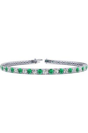 SuperJeweler 7 Inch 4 1/4 Carat Emerald Cut & Diamond Tennis Bracelet in 14K (9.4 g)