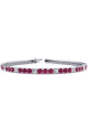 SuperJeweler 7.5 Inch 5 1/4 Carat Ruby & Diamond Alternating Tennis Bracelet in 14K (10.1 g)