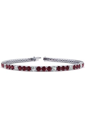 SuperJeweler 6 Inch 4 Carat Garnet & Diamond Alternating Tennis Bracelet in 14K (8.1 g)