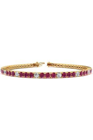 SuperJeweler 7 Inch 5 Carat Ruby & Diamond Alternating Tennis Bracelet in 14K (9.4 g)