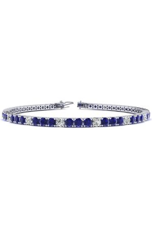 SuperJeweler 8.5 Inch 6 Carat Sapphire & Diamond Alternating Tennis Bracelet in 14K (11.4 g)
