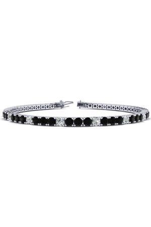 SuperJeweler 6.5 Inch 3 1/2 Carat Black & White Diamond Alternating Tennis Bracelet in 14K (8.7 g)