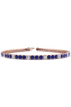 SuperJeweler 9 Inch 6 1/3 Carat Sapphire & Diamond Alternating Tennis Bracelet in 14K (12.1 g)