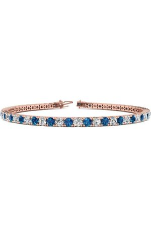 SuperJeweler 7 Inch 4 Carat Blue & White Diamond Tennis Bracelet in 14K (9.4 g)