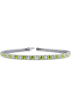 SuperJeweler 7 Inch 4 Carat Peridot & Diamond Tennis Bracelet in 14K (9.4 g)