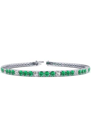 SuperJeweler 8.5 Inch 4 1/2 Carat Emerald Cut & Diamond Alternating Tennis Bracelet in 14K (11.3 g)