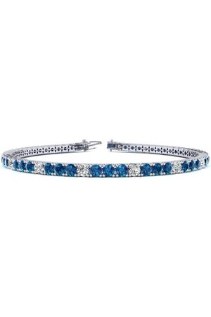 SuperJeweler 8 Inch 3 Carat Blue & White Diamond Tennis Bracelet in 14K (10.6 g)