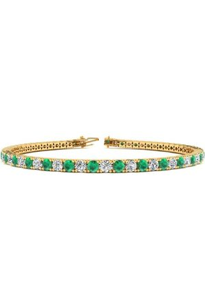 SuperJeweler 8.5 Inch 5 Carat Emerald Cut & Diamond Tennis Bracelet in 14K (11.4 g)