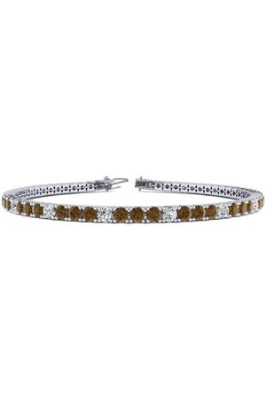 SuperJeweler 9 Inch 5 Carat Chocolate Bar Brown Champagne & White Diamond Alternating Tennis Bracelet in 14K (12.1 g)