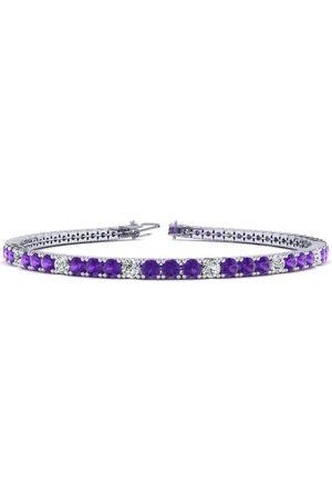 SuperJeweler Women Bracelets - 7 Inch 3 1/4 Carat Amethyst & Diamond Alternating Tennis Bracelet in 14K (9.3 g)